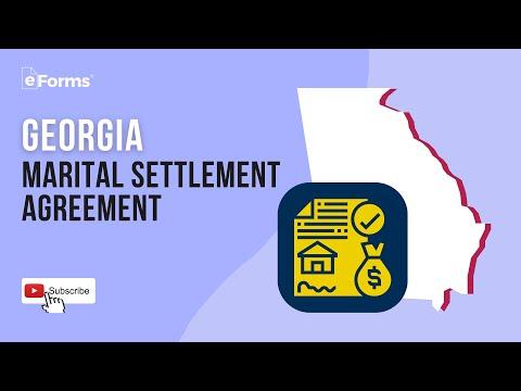 Georgia Marital Settlement Agreement, EXPLAINED