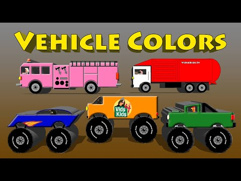 Vehicle Colors - Monster Truck, Van, Motorcycle, Fire Engine, Garbage Truck