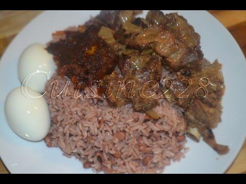 homemade Ghanaian - Senegalese : Waakye (Rice & beans) , stew & Dibi