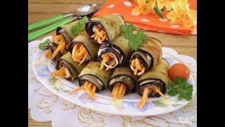 Рулеты из баклажанов с морковью по-корейски
