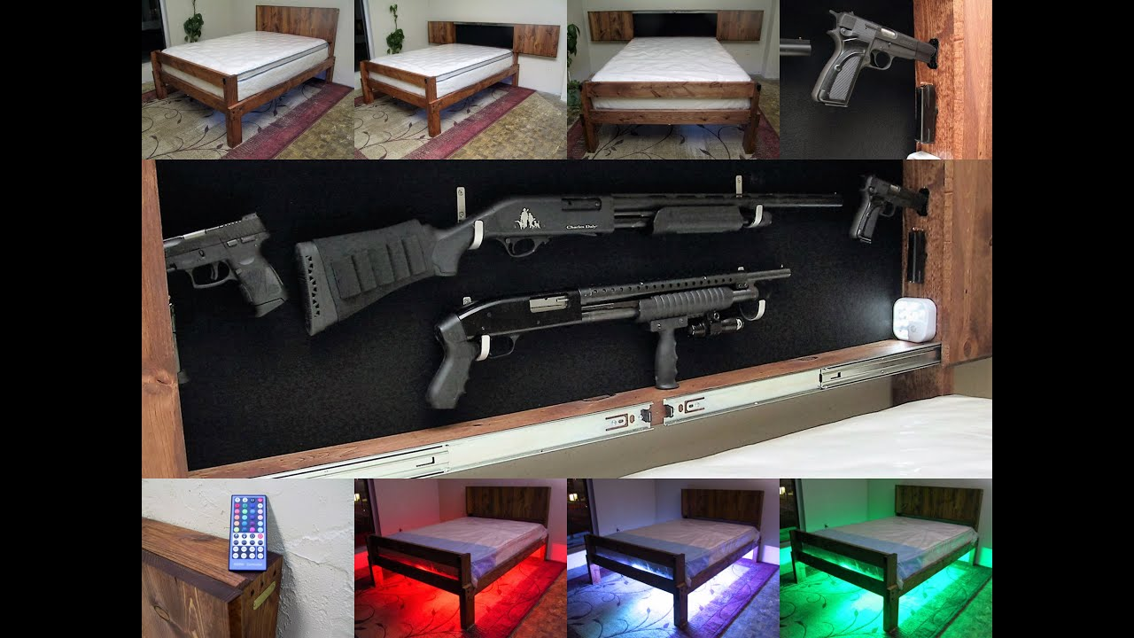 Giobed Gun Concealment Platform Bed With Led Lighting