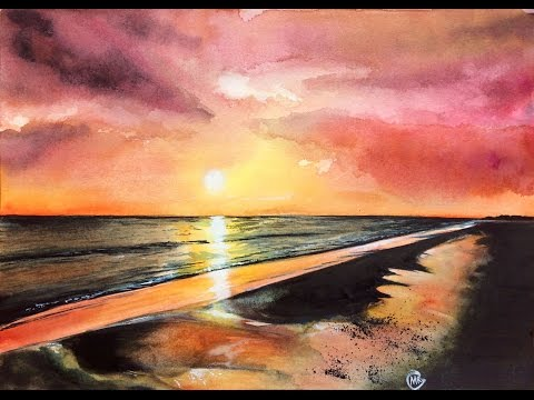 Watercolor Sunset Sky Real Time Painting Demonstration
