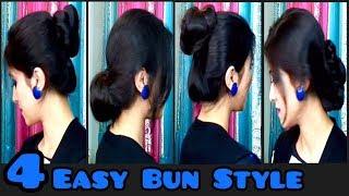 4 Easy Bun Style | Bun Style Hairstyles