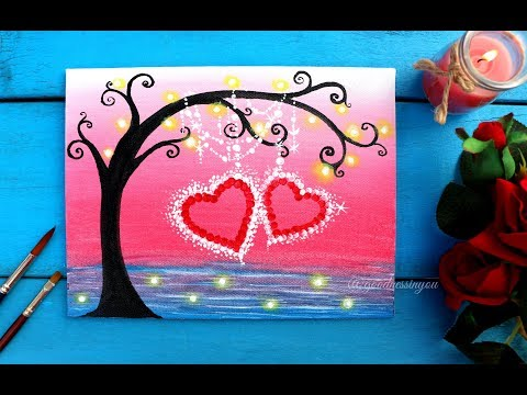 Easy Valentine's Special Tree with Hanging Hearts Painting for Beginners + GIVEAWAY