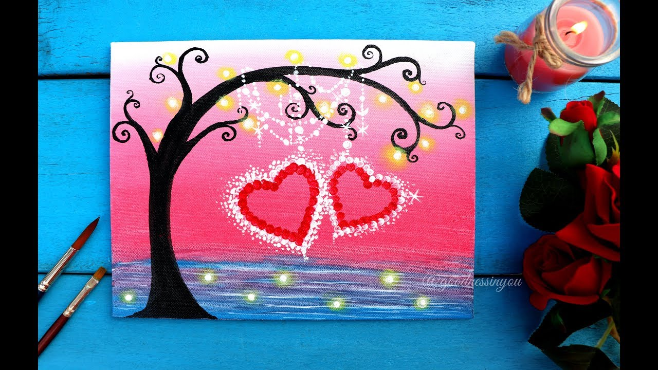Easy Valentine S Special Tree With Hanging Hearts Painting For Beginners Giveaway Youtube