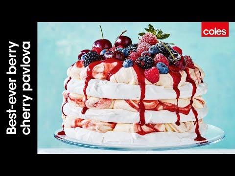 Best-ever berry cherry pavlova