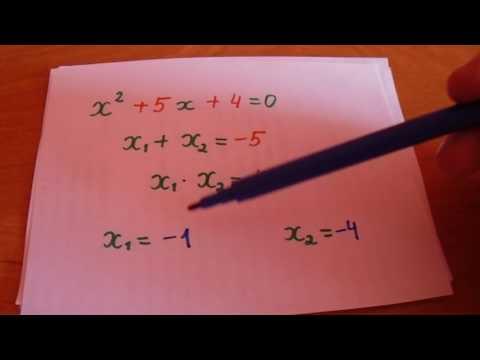 Как решать квадратные уравнения через теорему виета