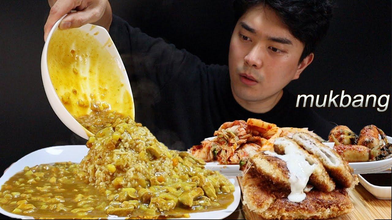 휴~ 덥다 직접만든 카레와 치즈돈까스 먹방 ASMR MUKBANG Homemade Pork Curry & cheese cutlet REAL SOUND | EATING SHOW