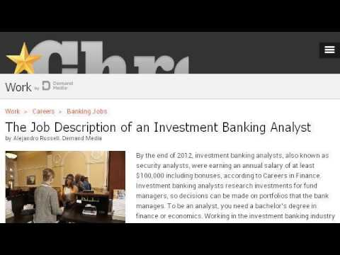 Job Description Of An Investment Banking Associate  Youtube