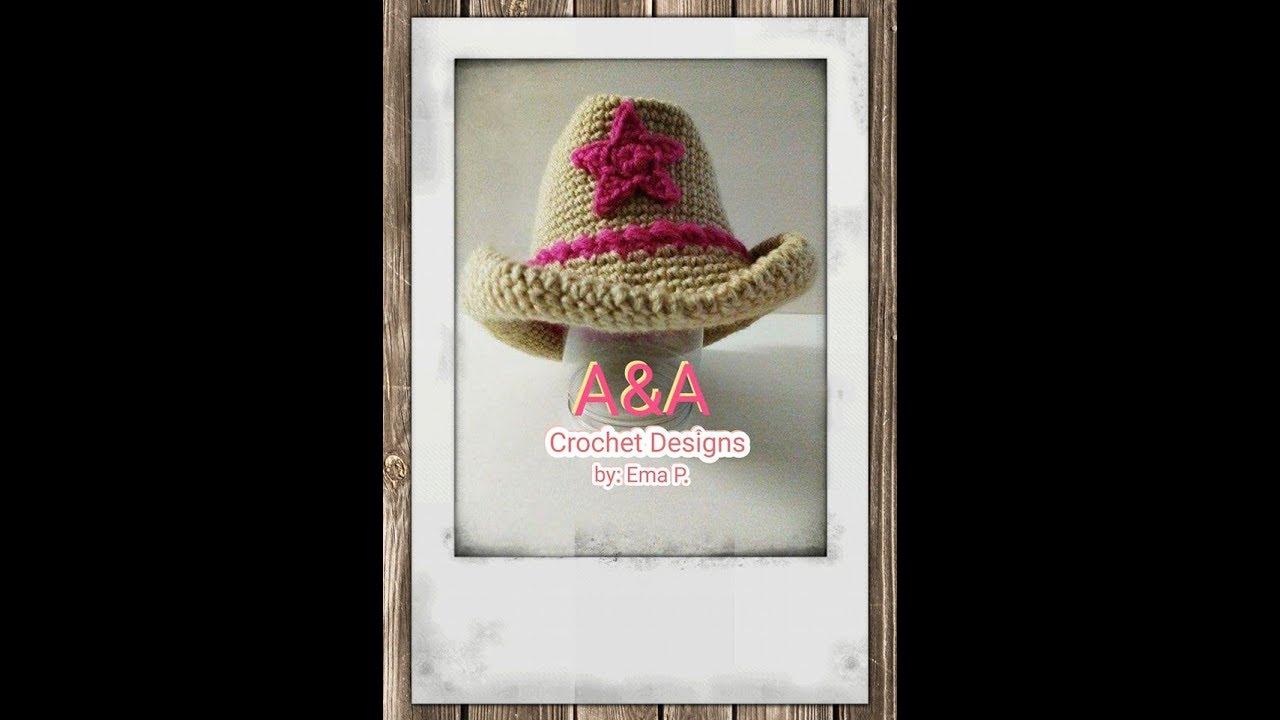 Sombrero vaquero tejido en crochet, paso a paso ( escrito) - YouTube