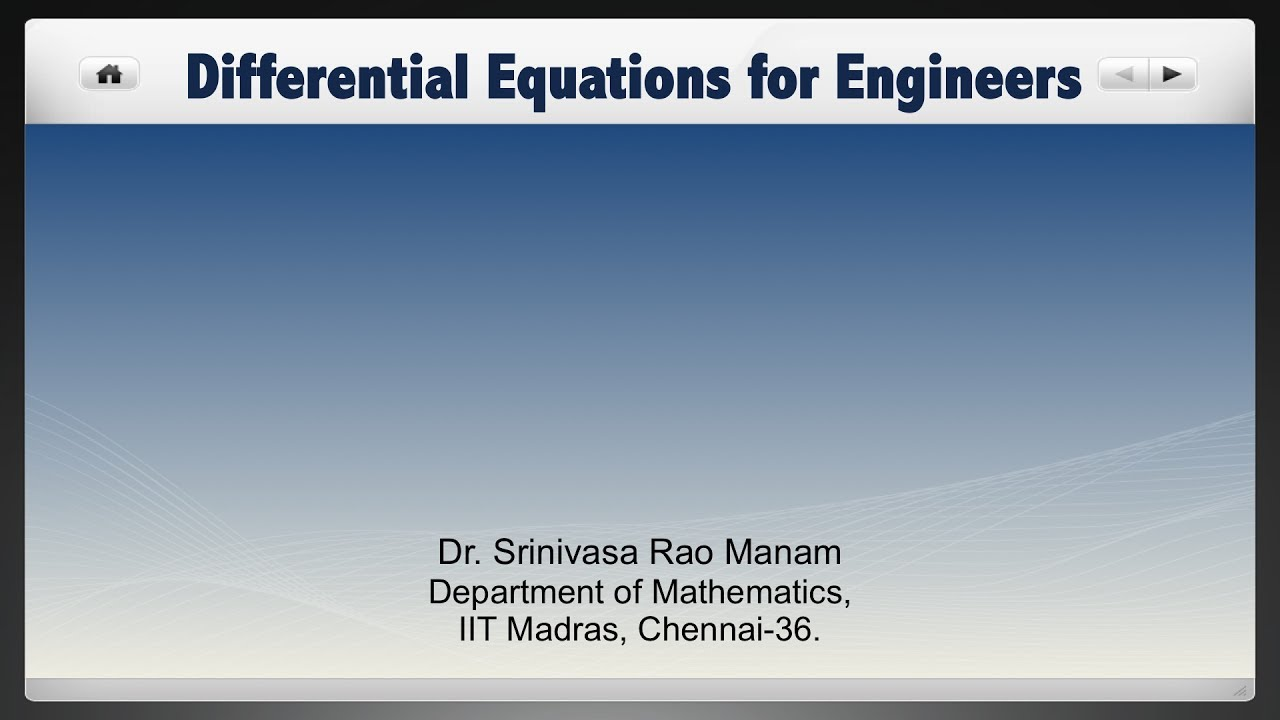 NPTEL :: Mathematics - NOC:Differential equations for engineers