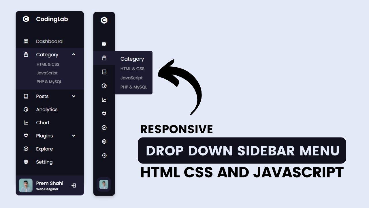 Responsive Dropdown Sidebar Menu using HTML CSS and JavaScript | Side Navigation Bar
