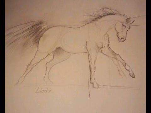 Verwonderlijk PAARD IN GALOP tekenen grafiet potlood tekening - YouTube EK-76