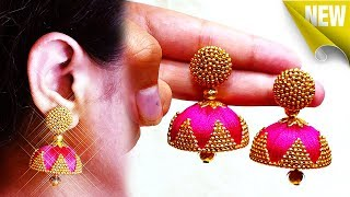 How To Make Silk Thread Jhumkas At Home | Latest Silk Thread Earrings