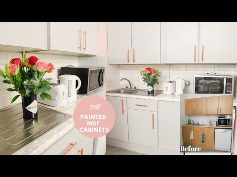 how-to-paint-laminate-mdf-kitchen-cupboards,-work-space-makeover!