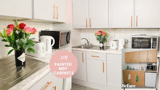How to paint laminate mdf kitchen cupboards, work space makeover!