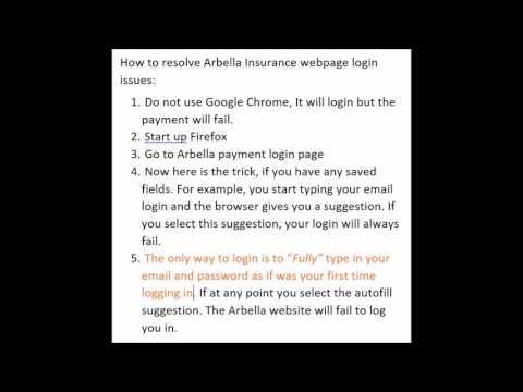 Arbella Insurance online pay login issues - fix - cannot login to Arbella insurance