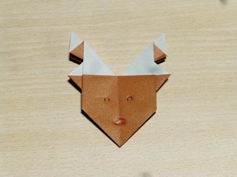 【DIY craft】How to make Reindeer. Origami. The art of folding paper.