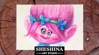 How to draw Poppy Cartoon Character from Trolls Cartoon with soft pastels