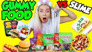MIXING GUMMY FOOD INTO CLEAR SLIME! GUMMY FOOD VS CLEAR SLIME!