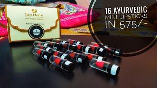 16 trending shades in just 575 \-   Just Herbs 16 Ayurvedic mini Lipsticks sampler kit