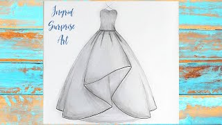 How to draw a ballroom dress / Easy pencil sketch for beginners / Ingrid Surprise Art