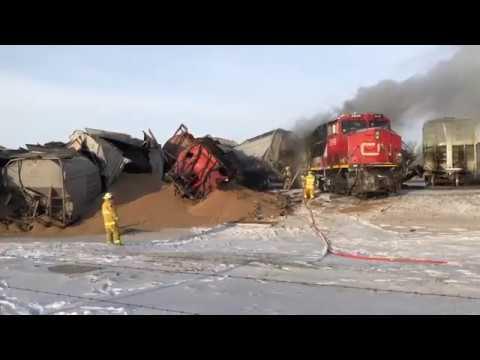 Train derails, catches fire outside of Saskatoon
