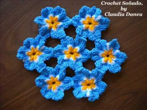 FLOWER PRINT CROCHET: FORGET ME NOT / NOMEOLVIDES - Y...