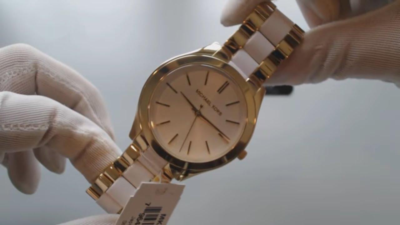 1b52ce36629b Women s Michael Kors Slim Runway Stainless Steel Watch MK4295 - YouTube