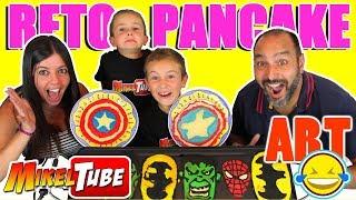 Reto PANCAKE ART 🍰 SuperHeroes con Momentos Divertidos