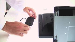How to attach a magnetic stripe reader an evo tm2 pos terminal. important: in order ensure you do not scratch the monitor make sure clear any debris...