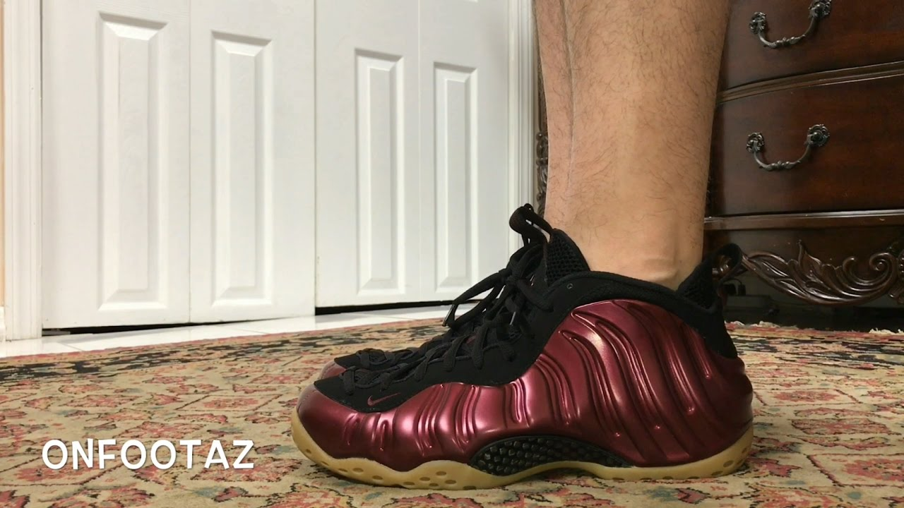 Nike Foamposite Maroon On Feet