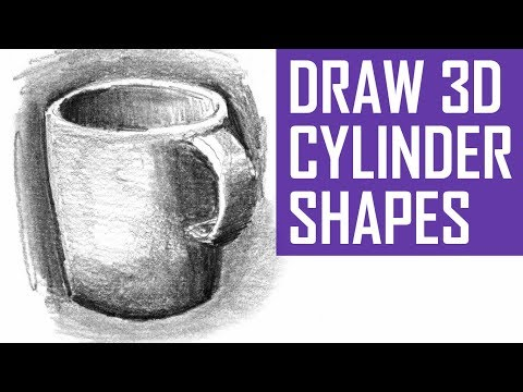 How to Draw 3D Cylinder Shapes - With Shading & Perspective - 동영상