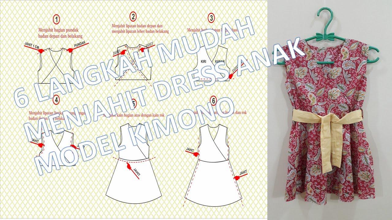 Cara membuat pola dan menjahit dress anak perempuan model