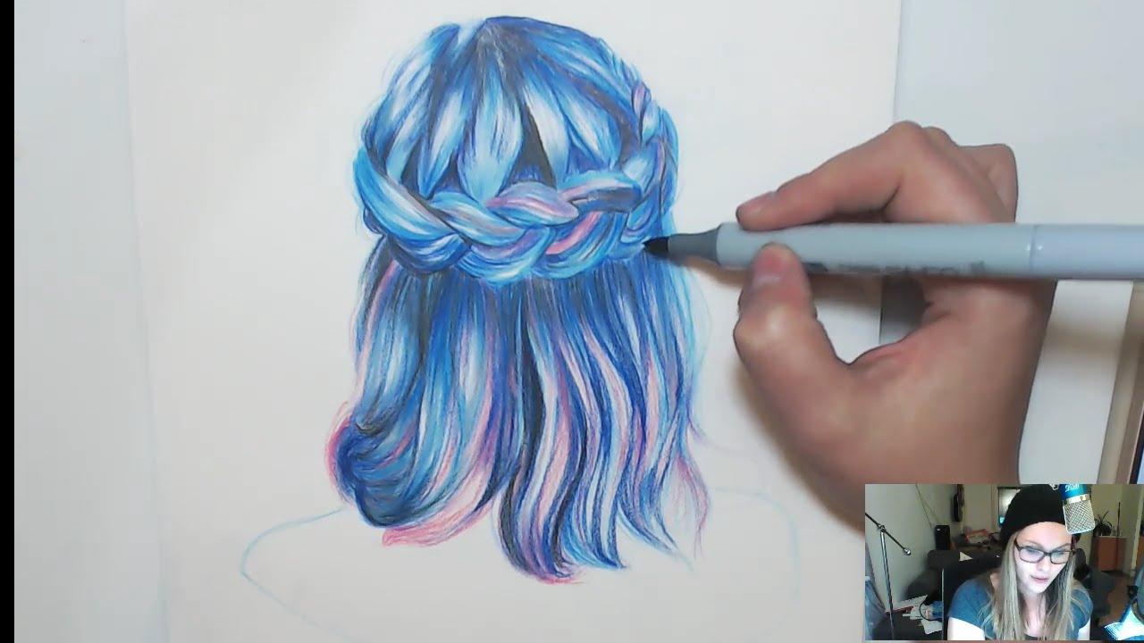 draw mermaid hair