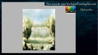 How to Draw a - WATERFALL Landscape Illustration Concept Art