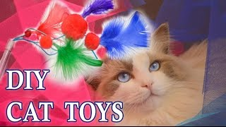 """DIY Cat Toys """"Tickle Tinkle"""" Feather Cat Pounce Toy"""