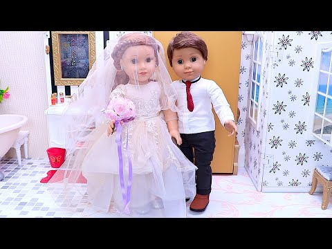 American Girl Doll Wedding Routine with Makeup Toys & Glam Dress! PLAY DOLLS