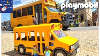 Playmobil School Bus Toy & Real NYC School Bus Learning School Buses For Kids
