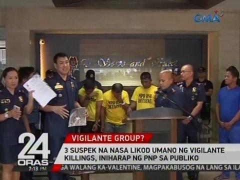 24 Oras: 3 suspek na nasa likod umano ng vigilante killings, iniharap ng PNP sa publiko