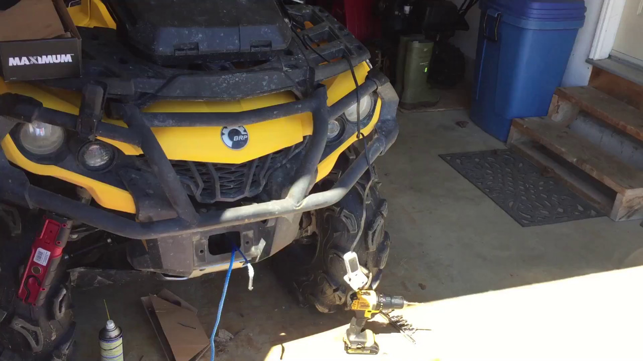 2013 Can Am Outlander Synthetic winch rope install  YouTube