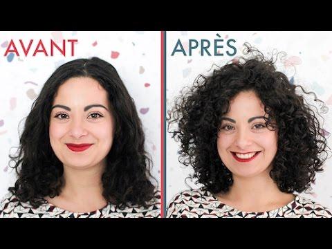 cheveux bouclés permanente avant apres