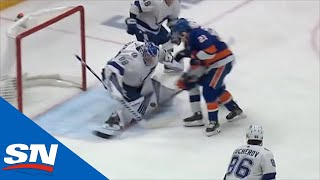 Download Andrei Vasilevskiy Makes Two Point-Blank Saves To Deny Kyle Palmieri On Doorstep