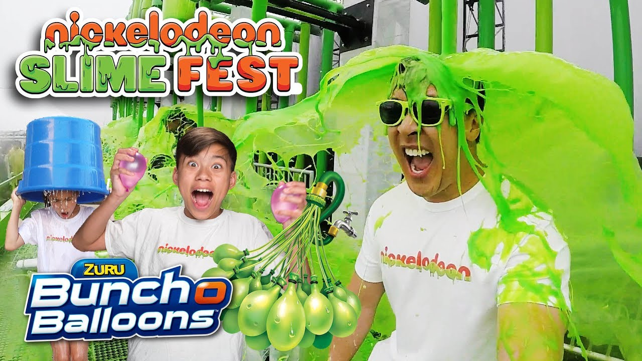 WE GOT SLIMED AT NICKELODEON SLIMEFEST!!! Bunch O Balloons Challenge!