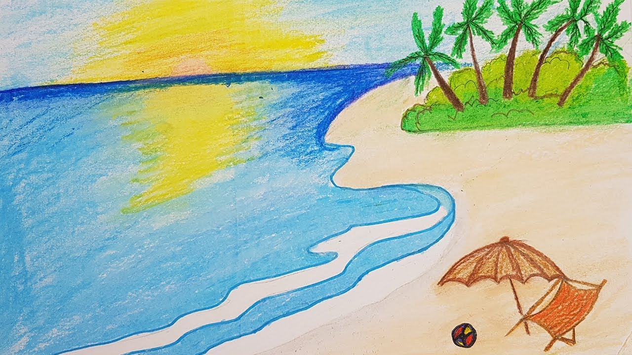 How to draw a sea beach scenery for kids. (very easy drawing) #1