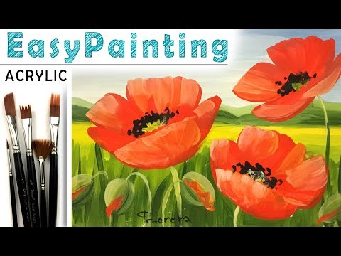 How to paint LANDSCAPE with poppies! Paint with Acrylic! Tutorial for Beginners! EASY 如何