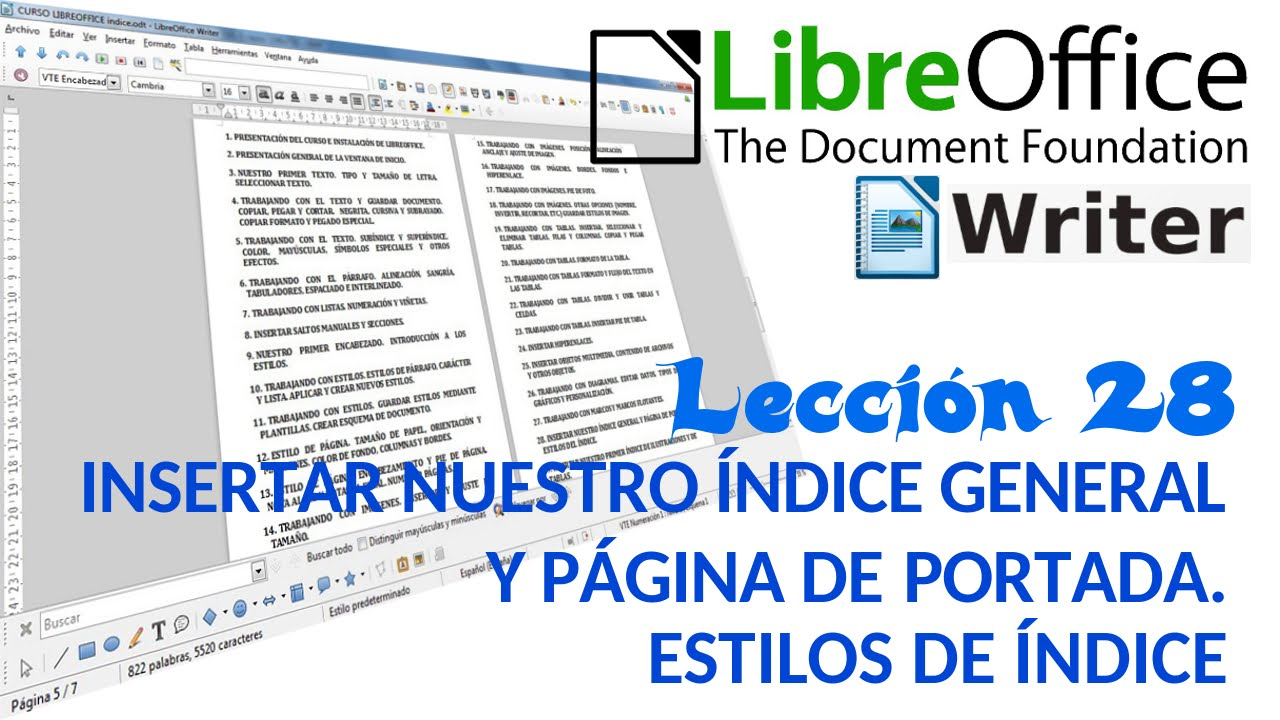 Tutorial LibreOffice Writer - 28/40 Insertar índice general y página ...