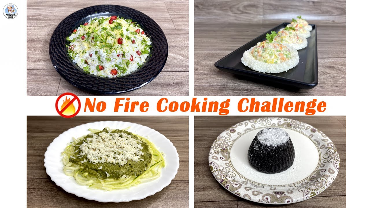 No Cooking Challenge For 24 Hours | Cooking Without Fire Challenge | Fireless Cooking | Hunger Plans