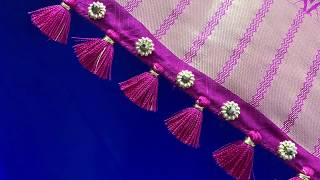 Crystal beads Saree Kuchu Design 1 || How to make Silk Saree Kuchu Design