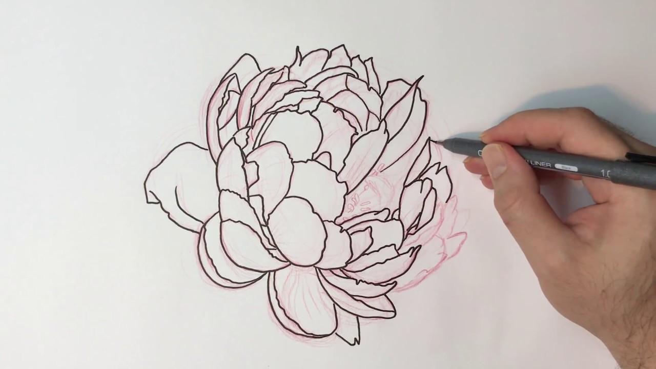 Line Art Flower Design : How to draw a flower design youtube